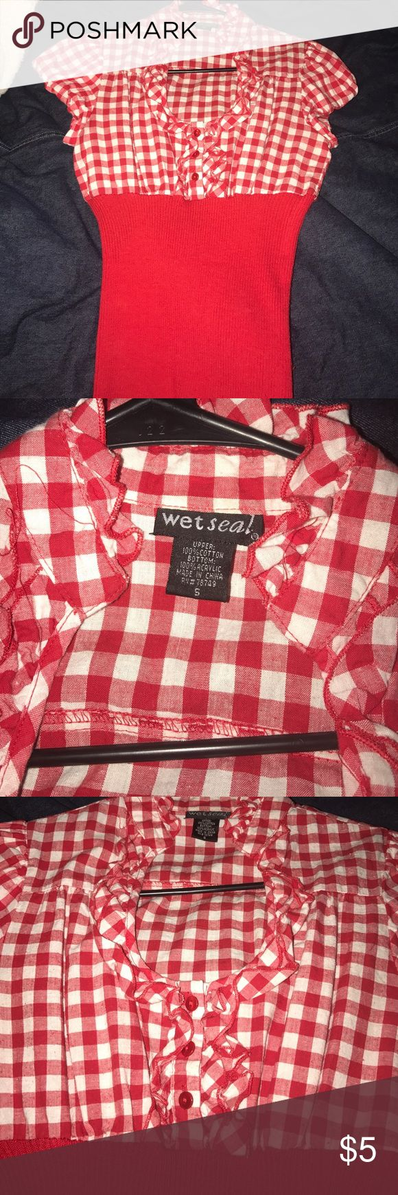 ❤Super Cute Red checker plaid shirt! ❤ size S ❤Super Cute Red checker plaid shirt! ❤ wet seal size S, good condition but does have a few imperfections (shown in last pic) still super cute!! Wet Seal Tops