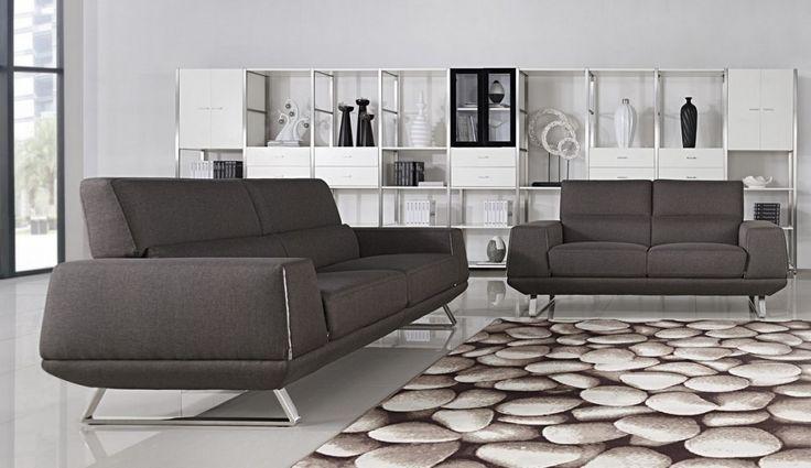 grey fabric sofa with rug