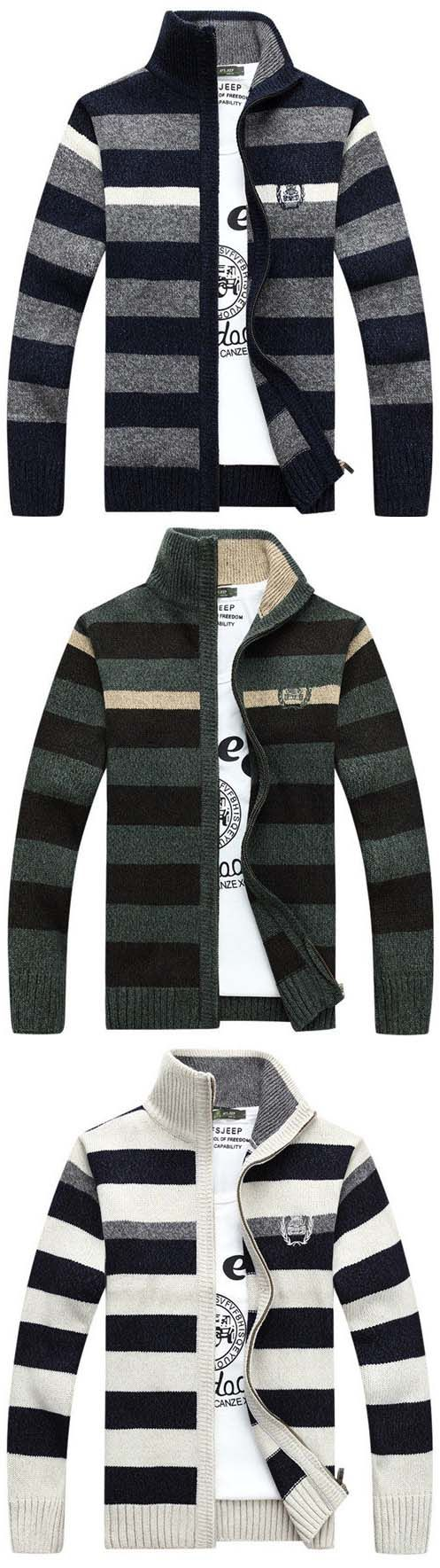 Mens Fall Winter Stripe Pattern Knitted Thick Stand Collar Casual Jacket