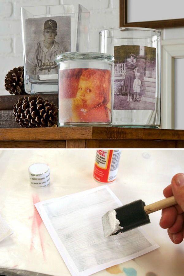 Mod Podge Photo Transfer To Glass Vases Mod Podge Rocks Mod