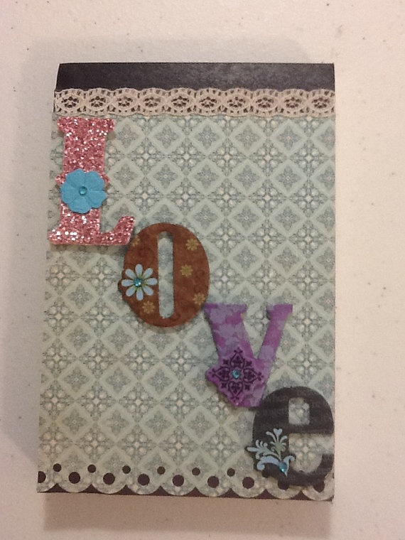 love decorative notepad by craftytreet on etsy