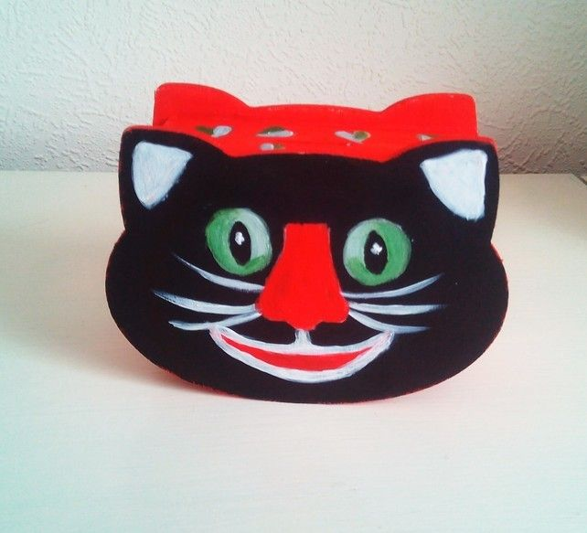 Cat Wood Money Box, Childrens Toy Cat Box, Nursery Decor Cat Red Black Box  £8.00