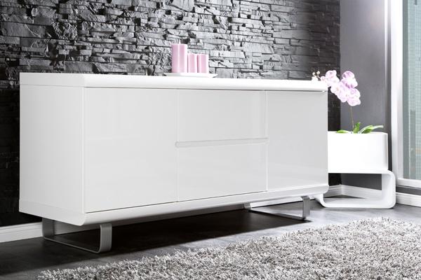 Design Sideboard SPACY weiss Hochglanz und Eiche 2 Türen 2 Schubladen  bei Riess Ambiente