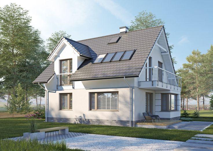LK&1213 projekt domu parterowego z poddaszem użytkowym, o powierzchni użytkowej 95,46m2  spełniajacy warunki programu Mieszkanie dla Młodych