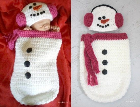 35+ Adorable Crochet and Knitted Baby Cocoon Patterns --> Crochet Snowman Ear Muff Hat and Cocoon