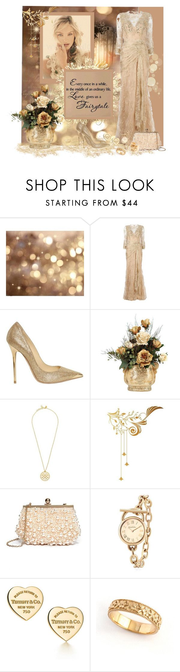 """""""Lovely and Lacey"""" by kimeaton ❤ liked on Polyvore featuring Zuhair Murad, Love Quotes Scarves, Jimmy Choo, Tory Burch, Surface Collective, GUESS by Marciano, Brooks Brothers, Tiffany & Co. and Tom Binns"""