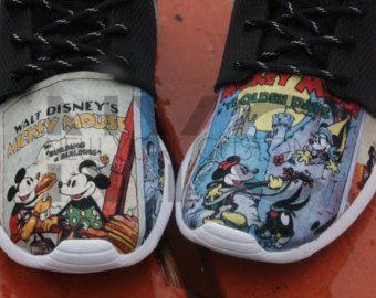 Mickey & Minnie Maus Jahrgang Poster Nike Roshe Run schwarz V5 Edition  Custom