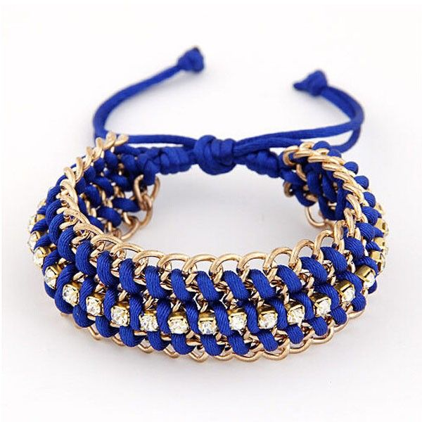 This item is Fashion Statement Jewelrys Tassel Woven Braided Rope Plated Alloy Metal Chain Bracelet. The elegant bracelet is catering to your different aesthetic value. The unique design make it charming and delicate. According to your own personal preferences, you can match it with all kinds of clothings according to actual. The following occasions, anniversary, engagement, gift, party, wedding, etc