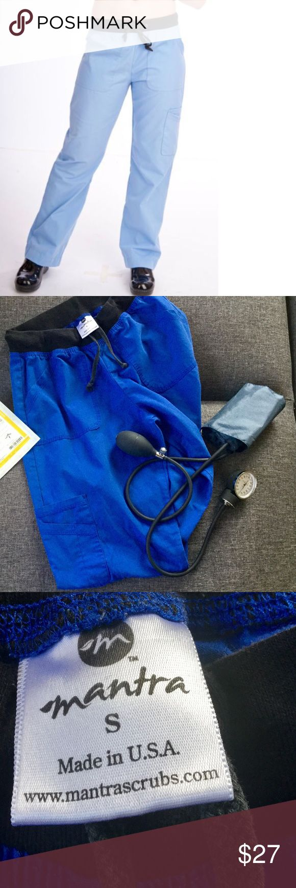 Mantra Blue Scrub Pants This scrub brand is more expensive in the scrub stores, because they are super comfortable. Almost like yoga pants combined with scrub pants. Pants are all cotton and feel amazing. In a gently used condition. mantra Pants