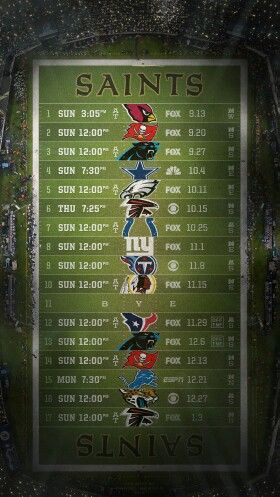 2015 New Orleans Saints Football Schedule for your I-Phone or Android cellphone.