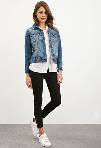 Classic Denim Jacket layered with button down shirt and leggings with lowcut sneaks
