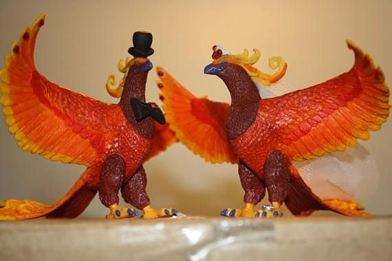 Phoenix Cake Toppers – Bride and Groom – Wedding Cake Toppers – Geek Cake Toppers – Animal Cake Toppers – Harry Potter – Fantasy – Fun