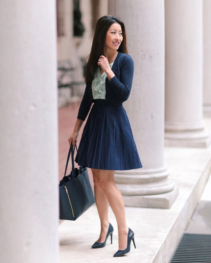 "4,677 Likes, 43 Comments - Jean Wang | Extra Petite Blog (@extrapetite) on Instagram: ""New on the blog ~ navy pleats at the library  Sharing a few spring pieces that don't require…"""