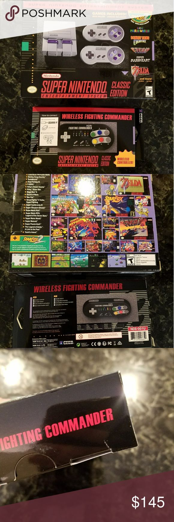 BNIB Super NES Classic w Wireless Controller Brand new! In box! Never used! Super NES Classic Edition. SNES Classic box contains the console as well as 2 wired controllers.   I am also including 1 wireless controller from HDRI. This is the one that comes bundled with the SNES Classic if you purchase it through GameStop. Wireless controller box came to me from Game Stop w/ a small tear in the side of the box (pictured).   The Super NES Classic Edition system looks and feels just like the…