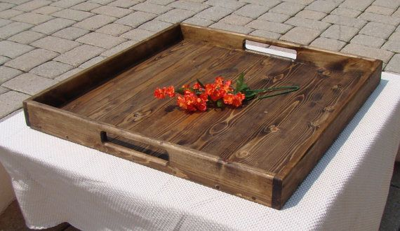 Rustic Ottoman Tray, Wooden Tray, Serving Tray, Coffee Table Tray, Rustic Ottoman Tray Decor, Rustic Serving Tray
