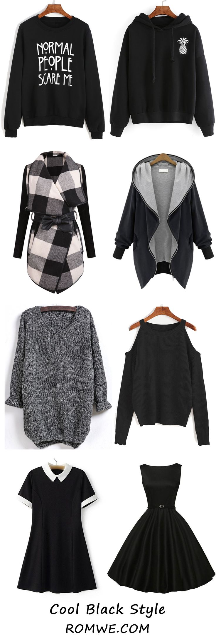 Cool Black - Sweatshirts, Sweaters, Dresses and Coats from romwe.com