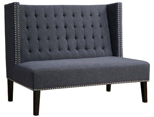 TOV Furniture Halifax Linen Banquette Bench, Grey