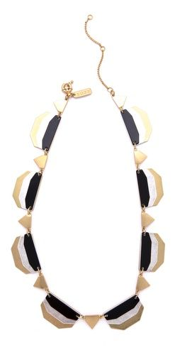 Black, Gold and White Colorblock Necklace