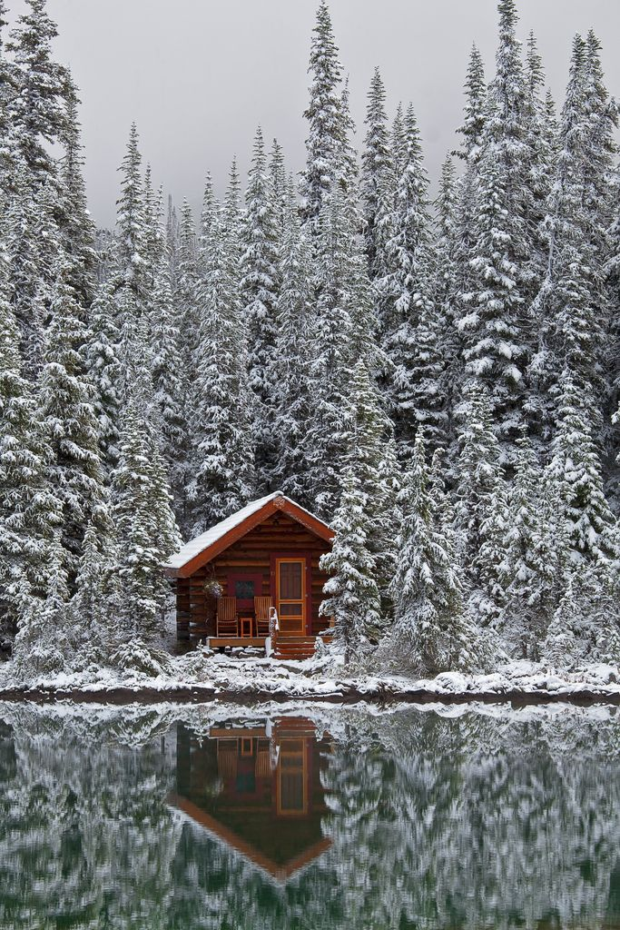 Seriously, I just want a place like this nestled away with my husband somewhere all to ourselves. Preferably, a world away from anyone we've ever known to live happily ever after :-). Is that asking too much?? :-)  Rustic Cabin of Lake O'Hara Lodge in Snow (by Lee Rentz)