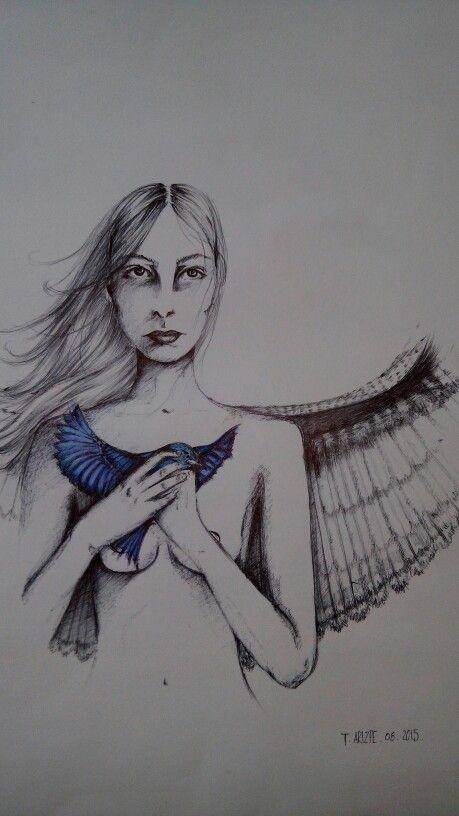 #Ilustracion #boligrafo #bluebird #letitfly