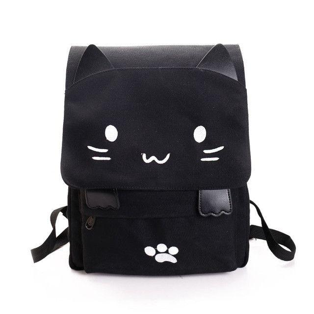 Cute Backpack Women Canvas Big Black School Bags for Teenagers Girls Book Bag Embroidery Printing Cat Back Bags Rucksack Bookbag