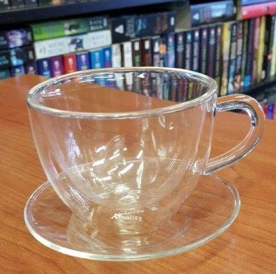 Double Insulated Glass Tea Cup   Perfect for Artisan Tea Balls in order to see the tea expand and unravel