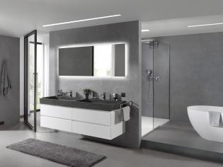 X2O   Balmani Mitra badkamermeubel wit mat met blauwsteen wastafel / Meuble salle de bain en blanc avec tablette en pierre bleue. More? Visit www.x2o.be #concrete #bathroom #furniture #design #style