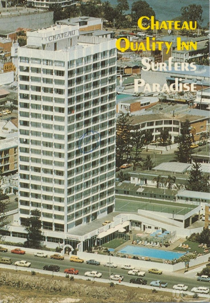 "<span class=""caption-caption"">Chateau Quality Inn, The Esplanade, Surfers Paradise</span>, c1970. <br />Postcard by <span class=""caption-publisher"">Sydney G. Hughes Pty Ltd</span>, collection of <span class=""caption-contributor"">Centre for the Government of Queensland</span>."