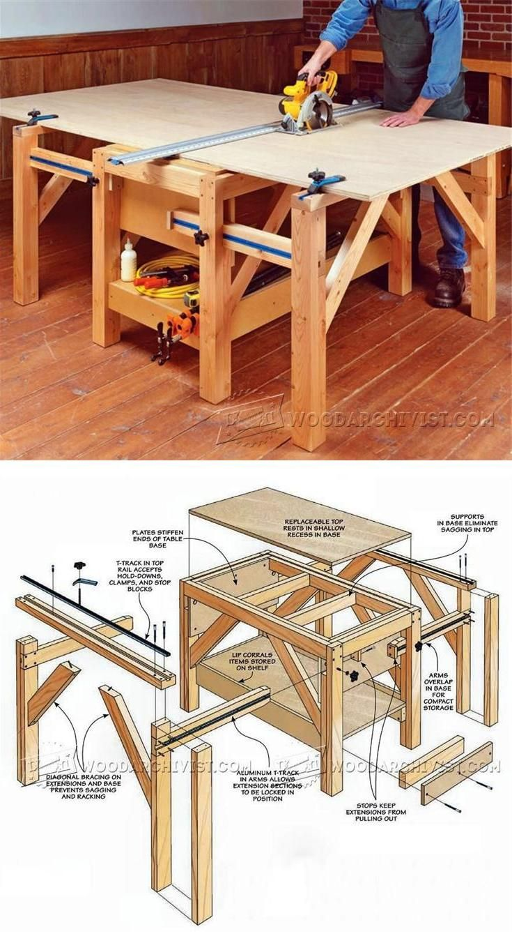 Diy cutting table - Plywood Cutting Table Plans Circular Saw Tips Jigs And Fixtures Woodarchivist Com
