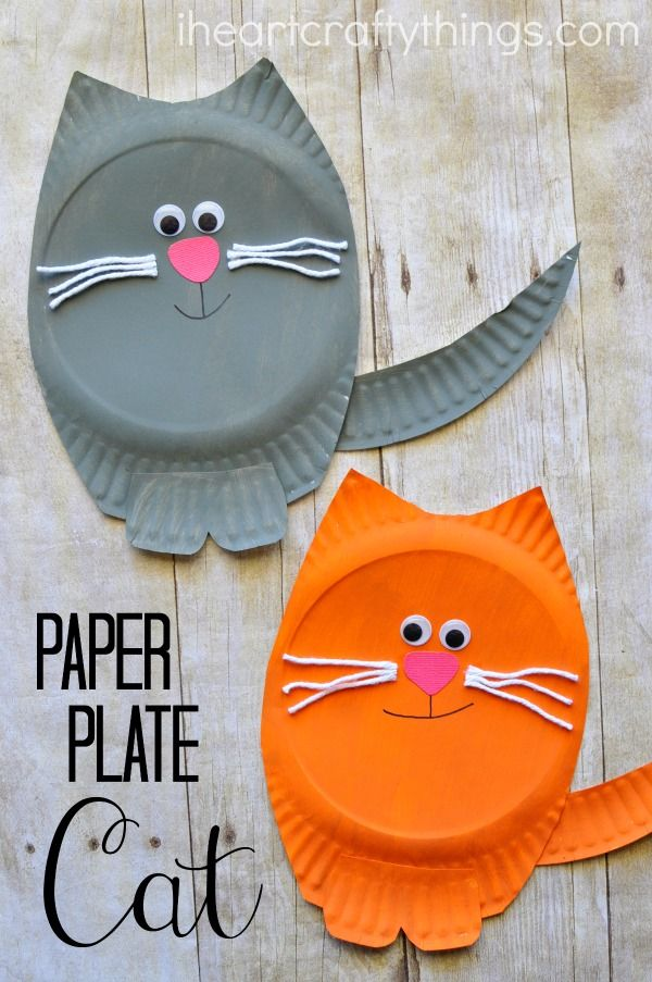 Simple and fun paper plate cat craft for kids. Fun animal kids craft, cat craft for kids, paper plate craft for kids, and simple preschool craft.