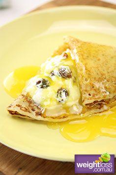 Healthy Dessert Recipes: Crepes with Ricotta and Orange Honey Sauce. #HealthyRecipes #DietRecipes #WeightlossRecipes weightloss.com.au