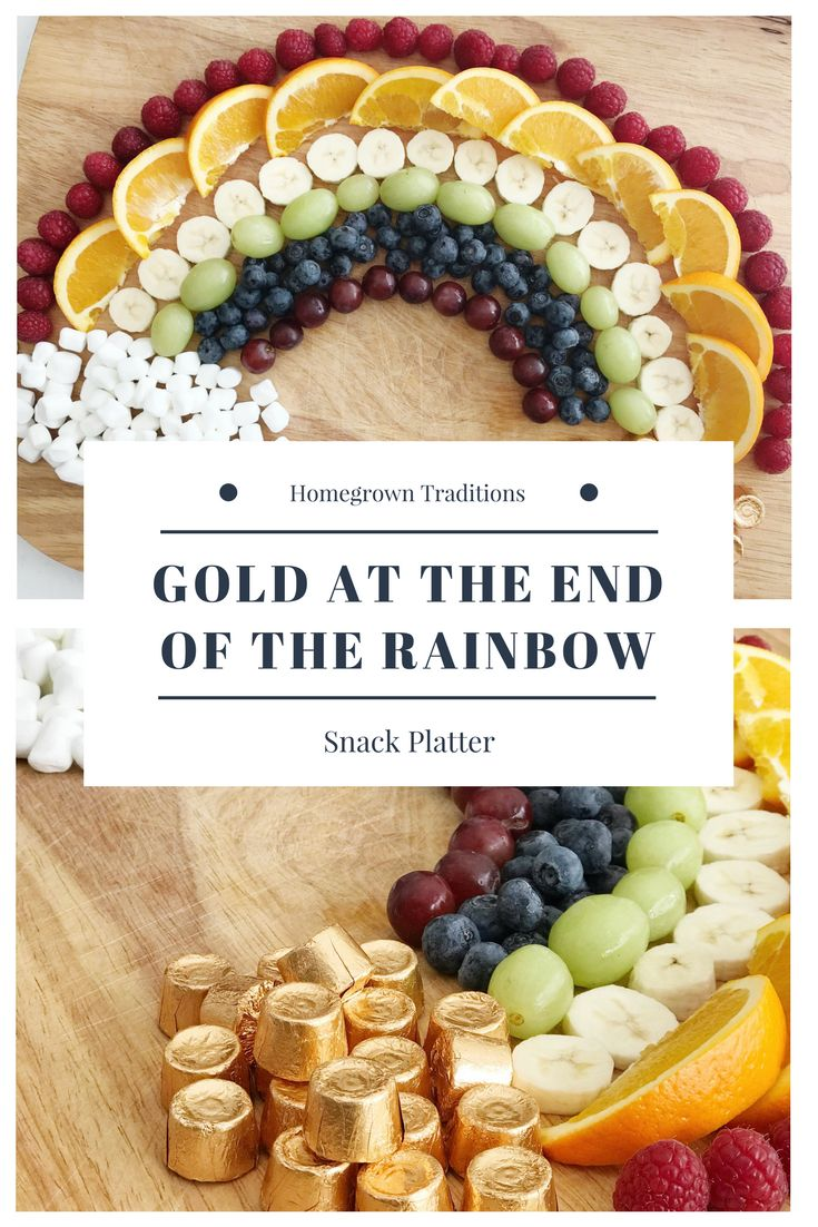 "Gold at the end of the rainbow fruit platter is perfect for a special St. Patrick's Day snack or meal idea.  It uses rainbow colored fruits, marshmallows for the clouds and Rolos for the pot of ""gold"".  It's an easy kid-pleaser."
