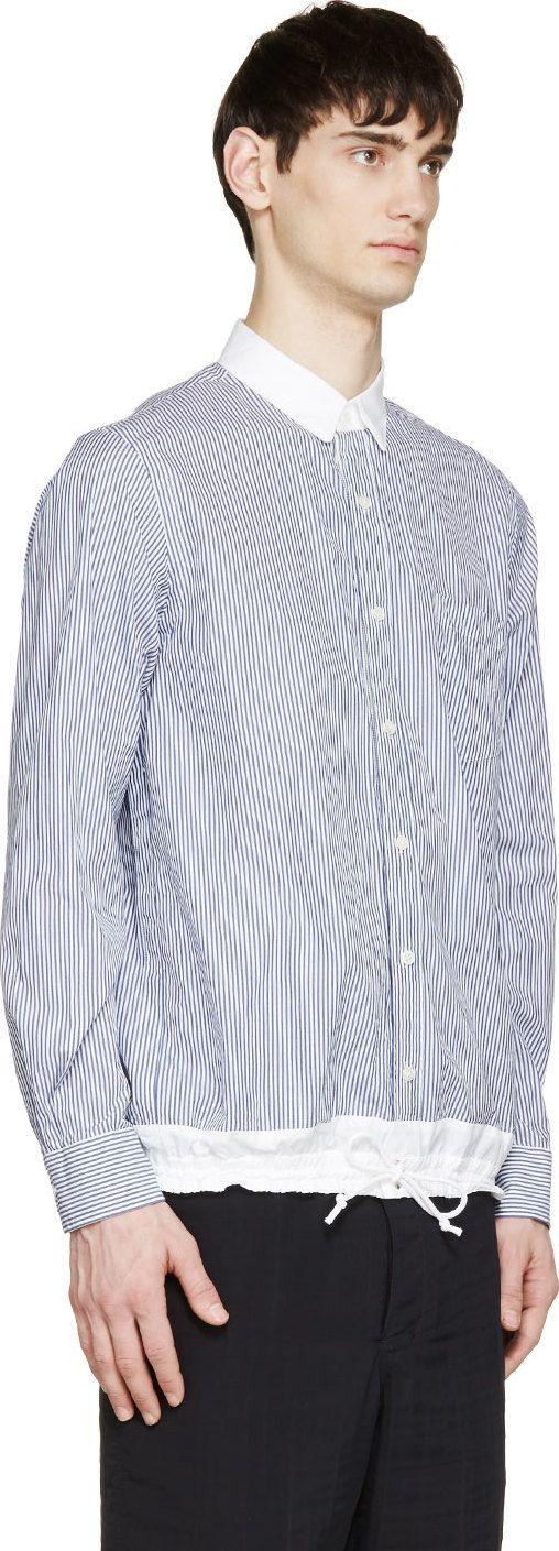 Sacai Blue & White Striped Drawstring Hem Shirt