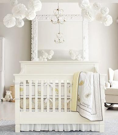 Pottery Barn Nursery with whites, pale cream, and barely yellow. Unisex or neutral nursery bedding and bedroom.: Nurseries, Baby Girl, Nursery Ideas, Baby Room, Baby Nursery, Pottery Barn, Kid