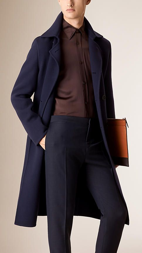 Ink blue Unlined Wool Overcoat - Image 1