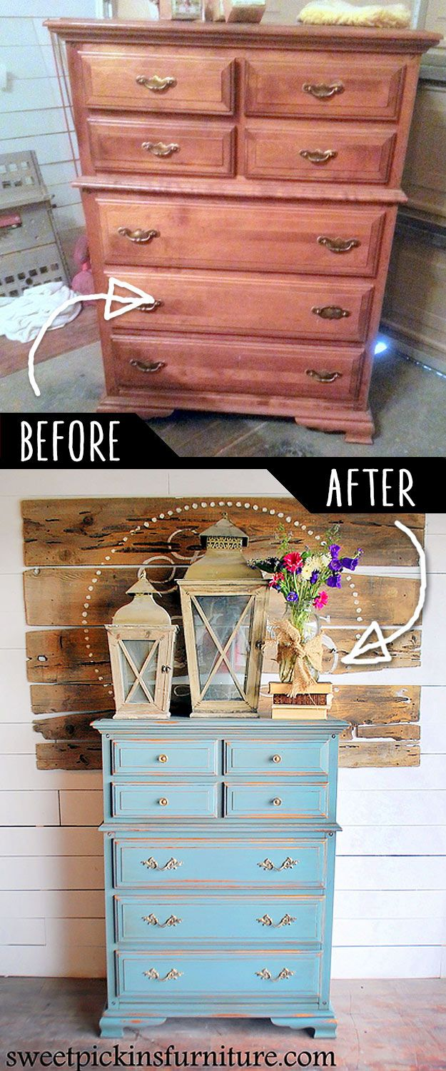 DIY Furniture Makeovers - Refurbished Furniture and Cool Painted Furniture Ideas for Thrift Store Furniture Makeover Projects | Coffee Tables, Dressers and Bedroom Decor, Kitchen |  Milk Paint an Old Dresser  |  http://diyjoy.com/diy-furniture-makeovers