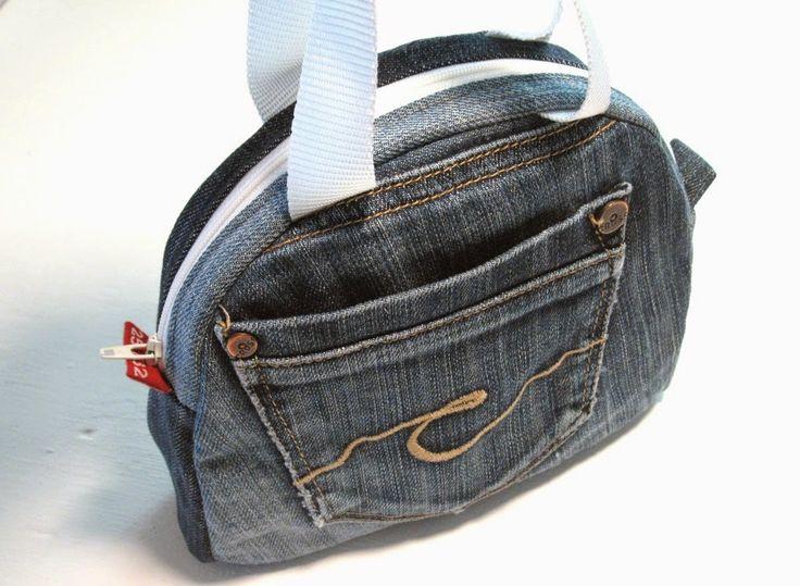 Aus Jeans mach neu, kleines Handtäschchen - Schnittmuster kostet etwas - Anleitung frei