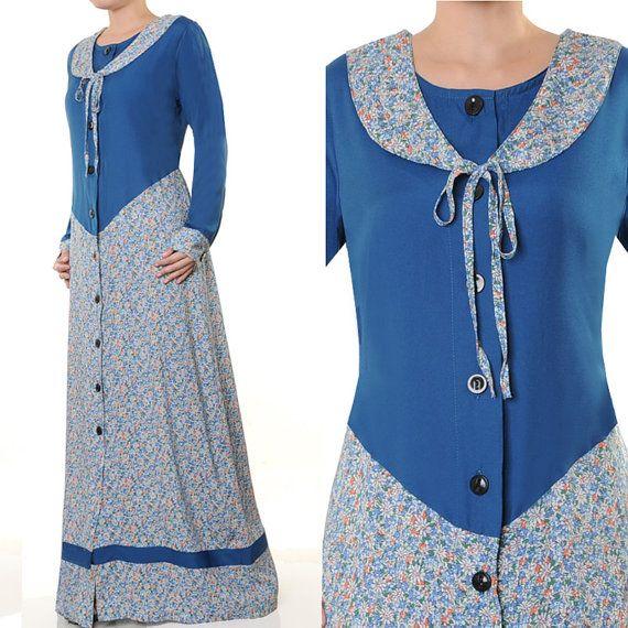 2532 Blue Sailor Neck Modest Abaya Islamic Long by MissMode21, $30.00