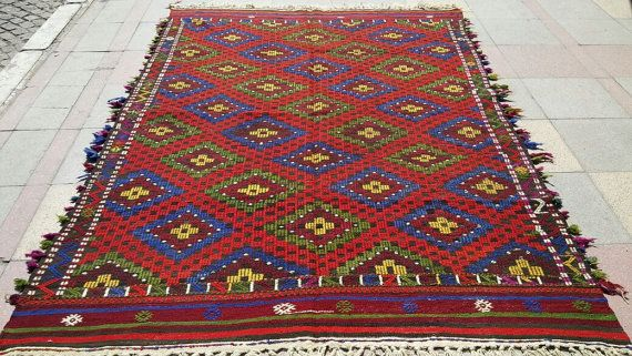 VINTAGE Turkish Kilim Diamond  Kilim Rug Antique Kilim Rug Carpet circa 1970 , 70,4'' X 101,5 '' inches -179 CM X 258 CM