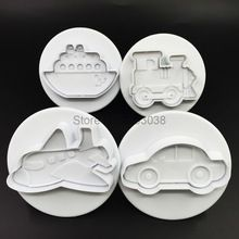 4Pcs Transportation Shape Cookies Biscuit Cutter Stamp Molds Dough Mold Fondant Cake Mould Baking Pastry Tool Bakeware Z40(China)