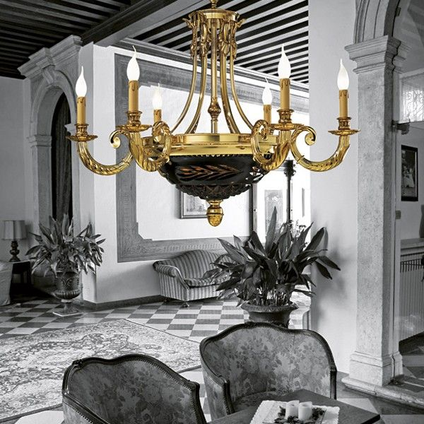#Gold plated brass #chandelier by #Possoni #lighting #design