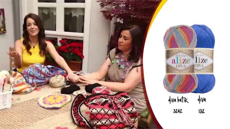 Alize Diva Batik Wayuu Çanta - Practical wayuu bag wıth Alize Diva Batik - YouTube