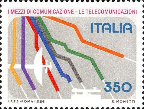 1986 - Mezzi di comunicazione - linee rappresentanti strade e ferrovie, antenna parabolica e telegrafo.
