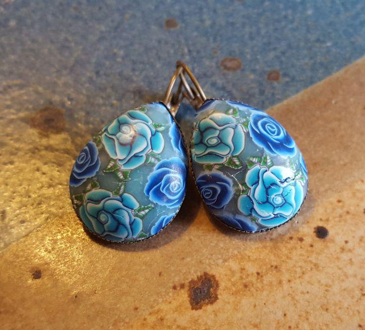 Turquoise roses earrings, blue flowers earrings, romantic turquoise earrings, Vintage roses earrings, Rose blue Earrings,gift for teens,