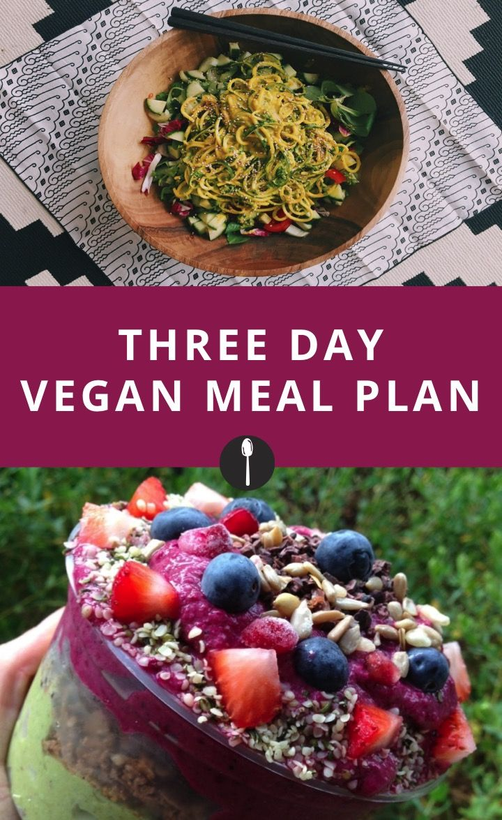 Three day vegan meal plan if you want to try a plant based diet.