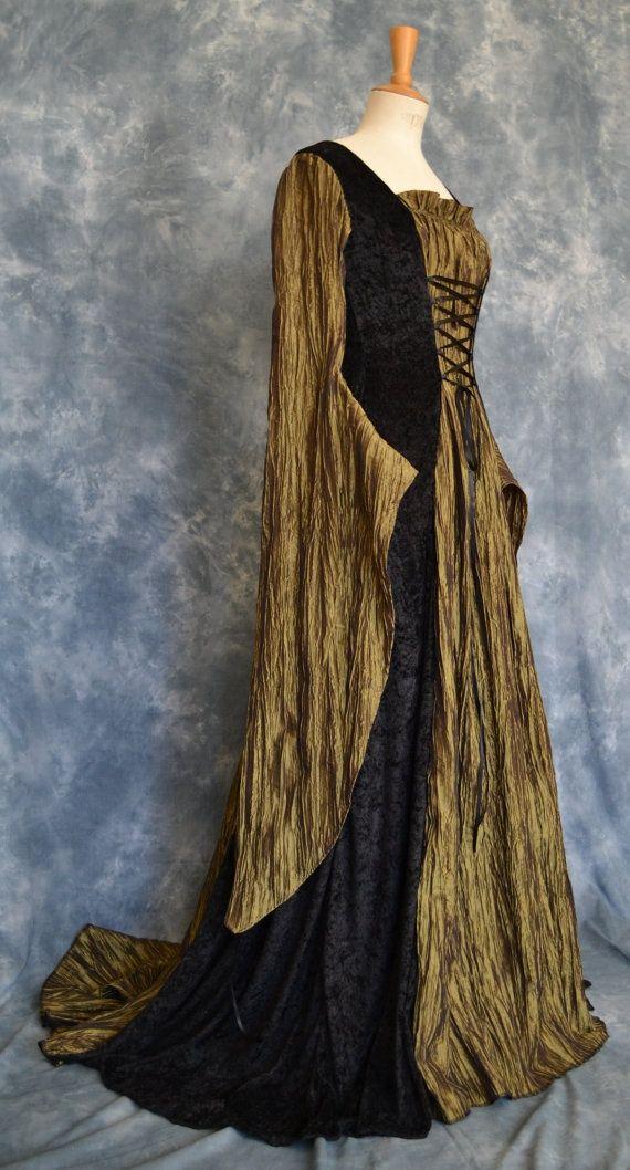 Celtic #Medieval Gothic #Renaissance Larp Elvish Wedding Gown Dress (This would…