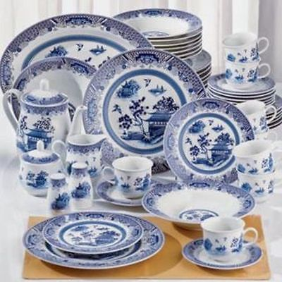 New 38p White Blue Chinese Garden Asian Dinnerware Dishware Set Service for 8 in Home & Garden, Kitchen, Dining & Bar, Dinnerware & Serving Dishes   eBay