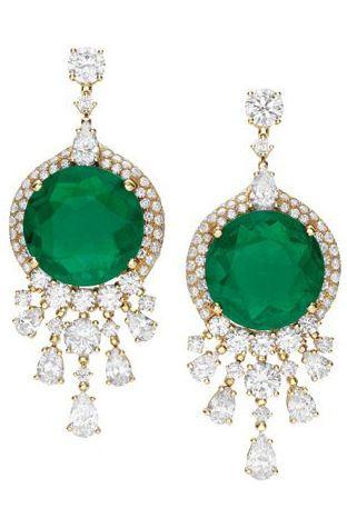 bulgari high jewellery earrings in yellow gold with two emeralds
