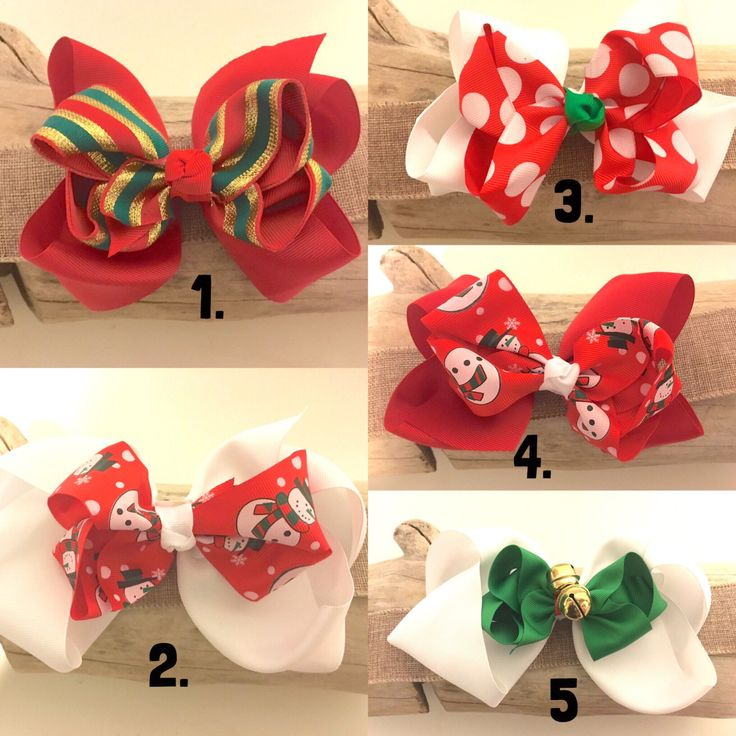 Christmas Hair Bows!Red Green White Santa Claus Jingle Bells Hair Bows.Holiday Portrait Hair Bows by FancyGirlBoutiqueNYC on Etsy