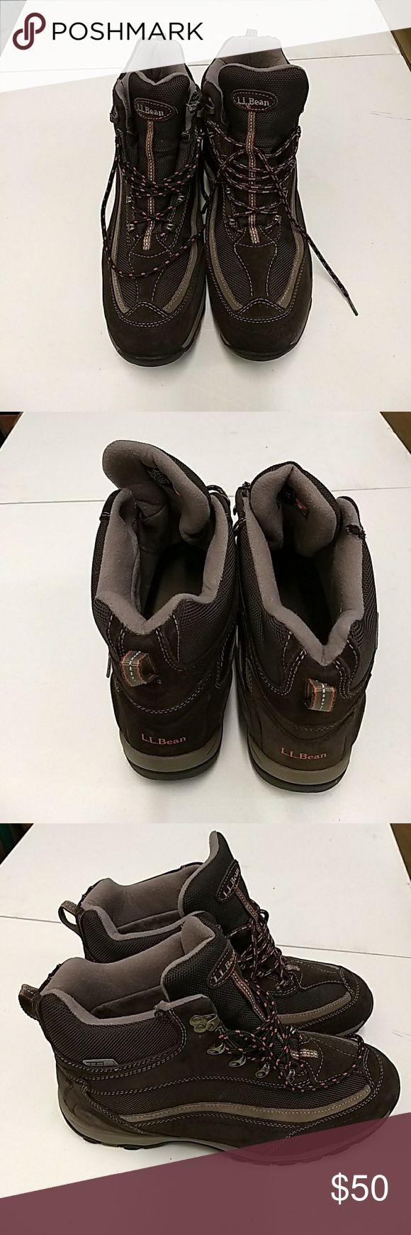 LL Bean Hiking Boots LL Bean Lightweight Men's Hiking Boots. TEK 2.5   200gr.  Near new condition BUT my puppy   thought the right shoe was his chew toy. See last pic. These boots can be used . LL Bean Shoes Boots